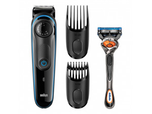 Триммер для бороды Braun BT3940TS Blue + Бритва Gillette