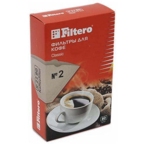 Фильтры для кофе FILTERO №2, для кофеварок капельного типа, бумажные, 80 шт, коричневый [№2/80]