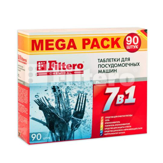 Таблетки Filtero для посудомоечных машин 7 в 1, 90 штук, MEGA PACK