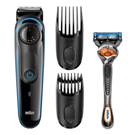 Триммер для бороды Braun BT3940TS Blue + Бритва Gillette